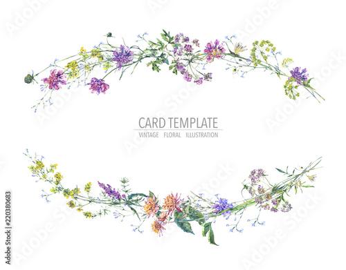 Leinwandbilder - Watercolor summer wreath of wildflowers Botanical colorful illustration