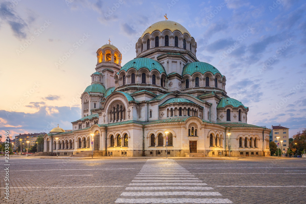 Fototapety, obrazy: Alexander Nevsky Cathedral in Sofia, Bulgaria at sunset
