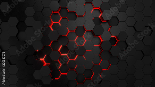 Fototapeta Technological hexagonal background with red neon illumination