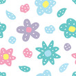 Childish seamless pattern with flowers. Creative texture for fabric