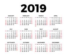 Calendar For 2019 On White