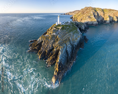 Aerial view of the beautiful cliffs close to the historic South Stack lighthouse Fototapeta