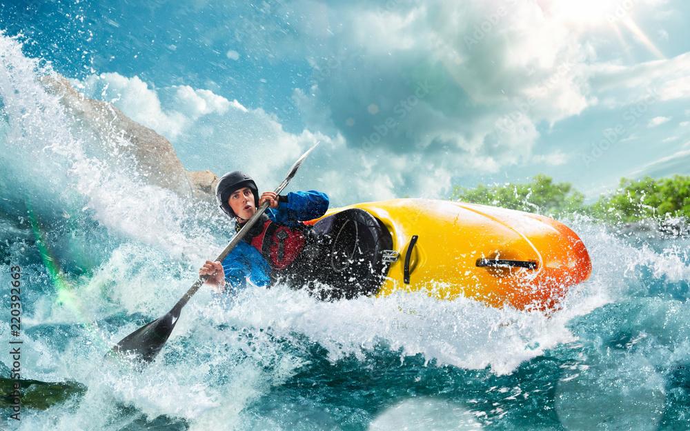 Fototapety, obrazy: Whitewater kayaking, extreme kayaking