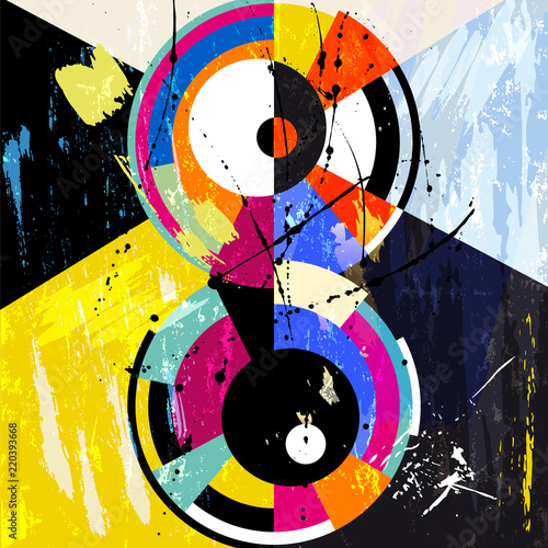 abstract circle background, retro/vintage style, illustration with paint strokes, splashes and geometric lines