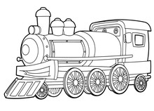 Cartoon Funny Looking Steam Train - Vector Coloring Page - Isolated - Illustration For Children