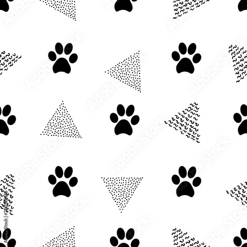 obraz lub plakat Seamless patterns with animal footprints and triangles.