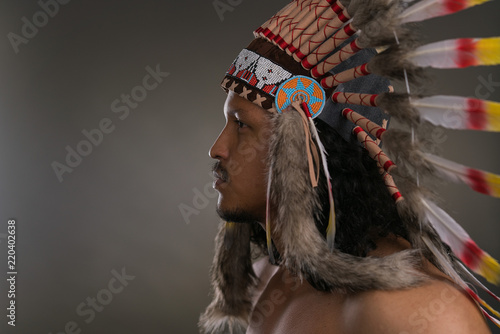 Moody native american indian portrait Canvas Print