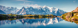 Fototapeta Nature - Colorful summer panorama of the Lac Blanc lake with Mont Blanc (Monte Bianco) on background