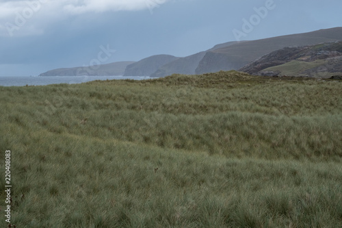 Printed kitchen splashbacks Khaki Sandwood Bay, Highlands of Scotland. Remote bay with white sand, dunes and reeds in far north west Scotland.