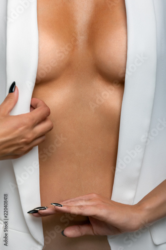The body of the girl in the white jacket Canvas Print