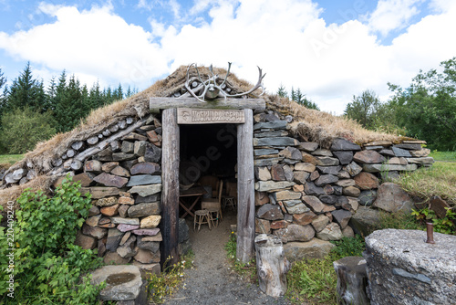 grass sod roof buildings and house in iceland, typical houses in old iceland