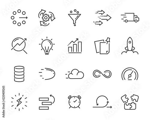 Carta da parati simple set of vector line icon, contain such lcon as speed, agile, boost, proces