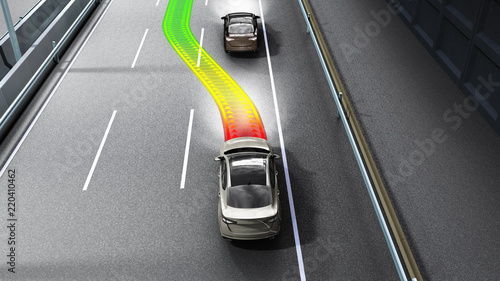 Photo modern concept of a safe car Collision monitoring system 3d render image