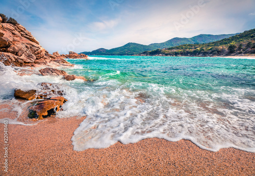 Photo Stands Salmon Sunny summer seascape of Aegean Sea. Beautiful marine landscape of Cuba Beach, Olimpiada village location, Greeace, Europe. Beauty of nature concept background.