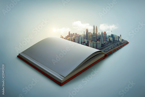Photo  Early morning beautiful scene of modern city skyline pop up in the open book pages