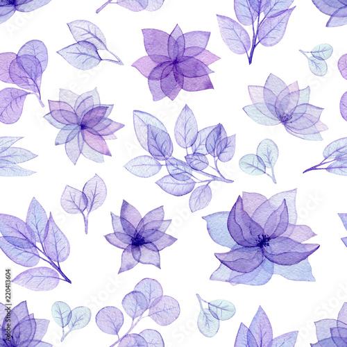 wzor-z-akwarela-fioletowe-kwiaty-i-liscie