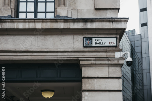 Street name sign on a side of a building on Old Bailey, the street where The Central Criminal Court of England, commonly referred to as the Old Bailey, stands Canvas Print
