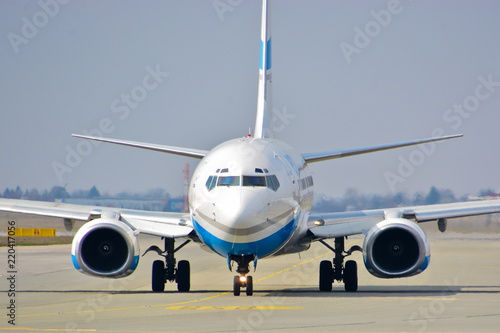 Tela  This is a view of Enter Air plane Boeing 737 registered as SP-ENU on the Warsaw Chopin Airport