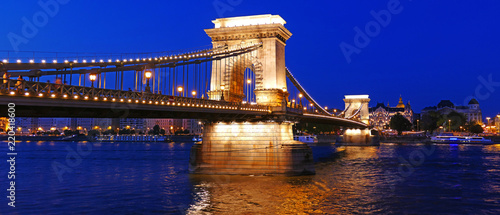 The Chain Bridge over the Danube in Budapest, Hungary