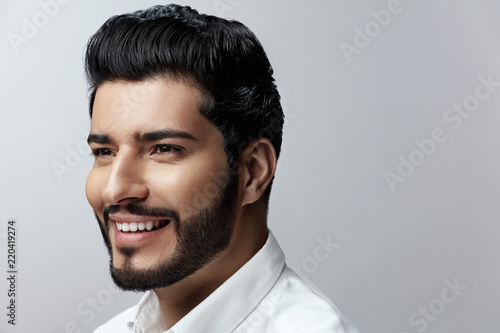 Hair And Beard. Beautiful Smiling Man With Hair Style Fotobehang