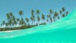 SLOW MOTION, HALF UNDERWATER: Crystal clear ocean water flows over camera filming a spectacular empty tropical beach on a perfect summer day in French Polynesia. Breathtaking turquoise sea and palms.