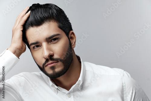 Fototapeta Fashion Man Portrait. Male Model With Hair Style And Beard obraz