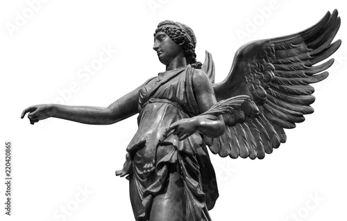 Fototapeta Beautiful young woman angel statue isolated on white background