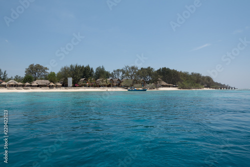 gili meno beach from water at gili island lombok in bali indonesia