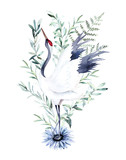 Watercolor print with crane of eucalyptus branch. Japanese style. Hand drawn illustration - 220423461