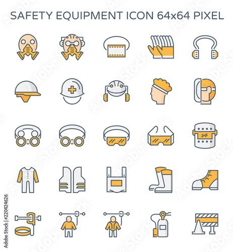 Safety equipment icon or personal protective equipment (PPE) in construction work Wallpaper Mural