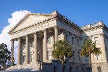 An Old (mid 1800s) US Government Customs House With Typical Neoclassical Architecture Of A Roman Portico Supported By Fluted Corinthian Columns.