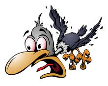 Crazy Cartoon Bird Vector Illu...
