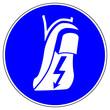 Leinwanddruck Bild - shas542 SignHealthAndSafety shas - German / Gebotszeichen: Antistatisches Schuhwerk benutzen / Blitz Symbol - english / mandatory action sign: wear antistatic footwear / lightning sign  - xxl g6544