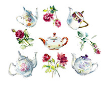 Collection Teapots With Roses....