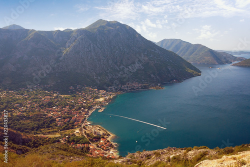 Summer Mediterranean landscape. Montenegro, view of Kotor Bay and Risan town from mountain slope