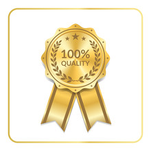 Award Ribbon Gold Icon. Blank Medal With Laurel Wreath Isolated White Background. Stamp Rosette Design Trophy. Golden Symbol Winner, Celebration, Sport Competition, Champion. Vector Illustration