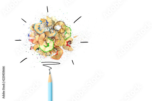 Creative idea, Concept idea and innovation with pencil shavings light bulb on white background