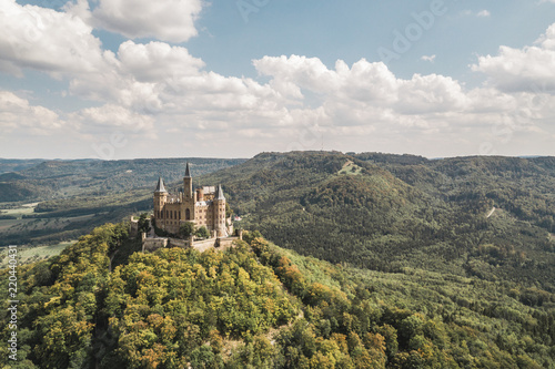 Fotografie, Obraz  Aerial view of Hohenzollern castle, famous tourist place in Germany