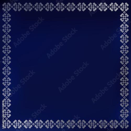 decorative square silver ornament border or frame on blue velvet background for book cover lettering