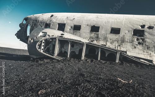 The abandoned DC-3 Airplane on Solheimasandur beach Wallpaper Mural