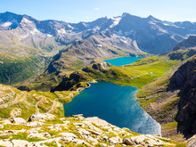 Stunning View Of Lakes Of Gran Paradiso Park, Piedmont, Seen From Col Del Nivolet