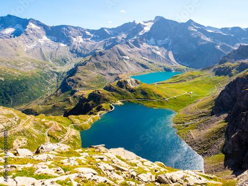 Foto auf Gartenposter Gebirge Stunning view of lakes of Gran Paradiso Park, Piedmont, seen from Col del Nivolet