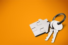 House Shaped Keychain And Keys Isolated On