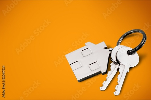 House shaped keychain and keys isolated on Canvas Print