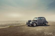 Vintage Car In The Salt Flats
