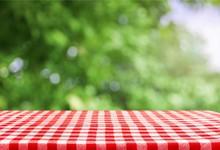 Checkered Napkin On Background
