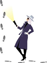 Mystery Woman Or A Female Detective Following Footprints, EPS 8 Vector Illustration