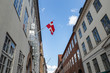 Flag of Denmark on a street in Copenhagen