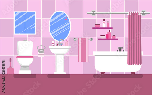 Interior of the bathroom for a glamorous girl in pink colors. Canvas Print