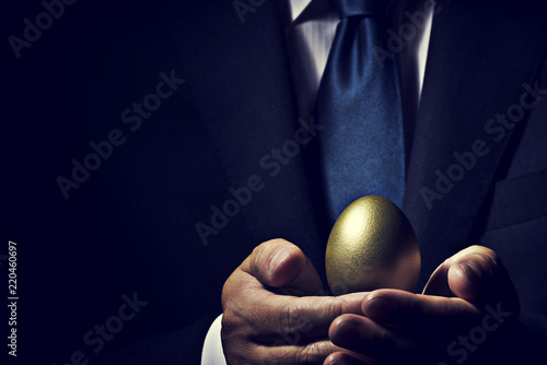 Fototapeta 金の卵を手に持ったビジネスマン obraz